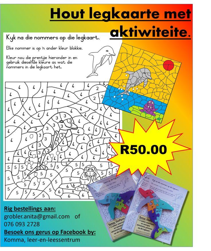 HOUT LEGKAARTE MET AKTIWITEITE.    +3 Lekker waarneem en weergee aktiwiteite saam elke legkaart.   Temas beskikbaar:  •Olifante  •Dolfyne  •Helikopters  •Hasies  •Seekoeie  •Voëltjies  •Varkies    Rig bestellings aan:   (Kan ook in Engels bestel word) grobler.anita@gmail.com of  076 093 2728   Besoek gerus ook ons Facebookblad: https://www.facebook.com/KOMMA-leer-en-leessentrum-740032272797570/