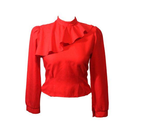 Rojo vestido blusa manga larga cuello | Peplo sutil cintura | Cultivo formal superior | Tamaño pequeño de la mujer