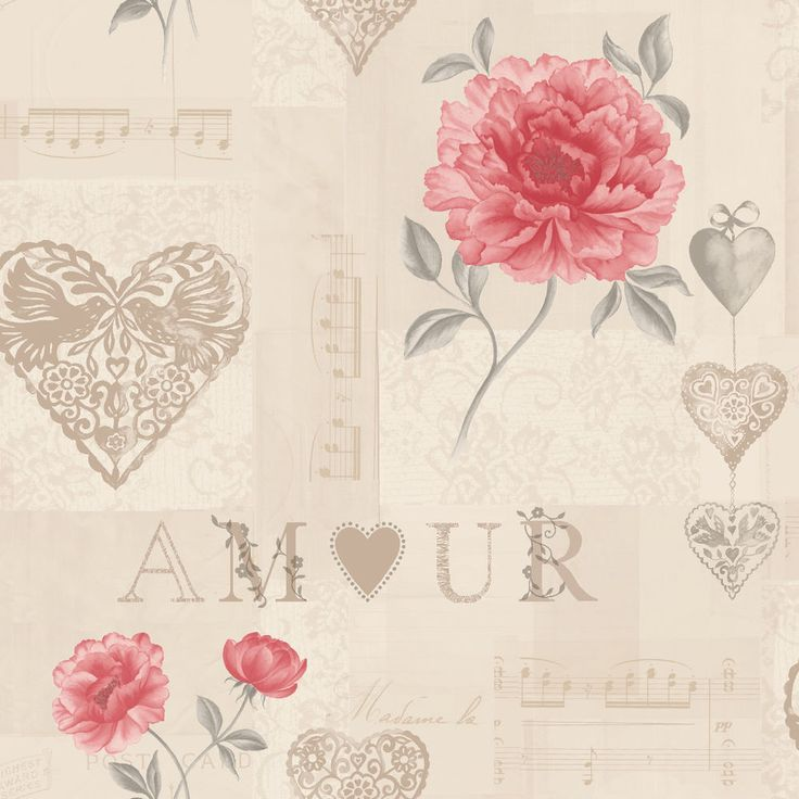 Love Note Red Cream K2 Feature Wallpaper 11380 By Holden SPECIAL OFFER