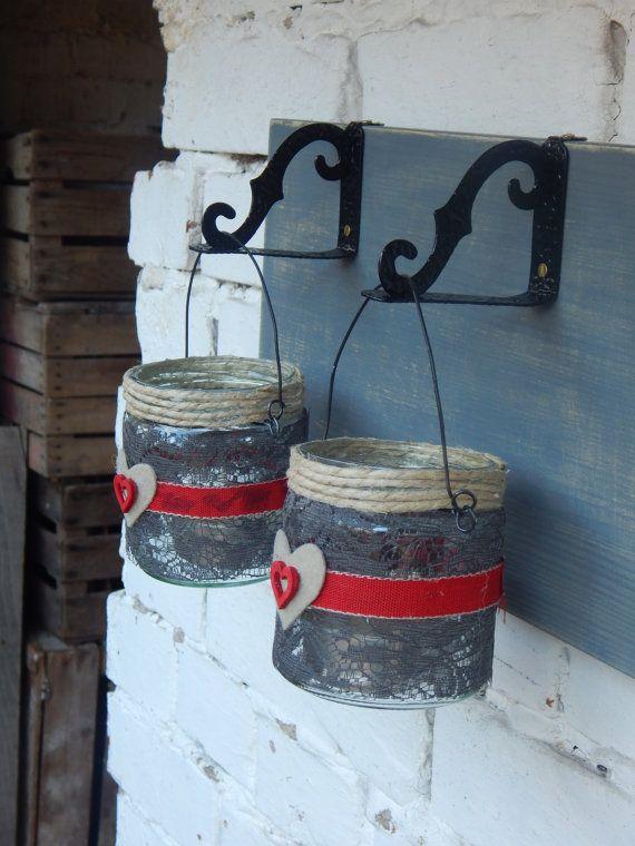 Lanterne San Valentino  Vaso vetro decorato con di LUCIDELNORD