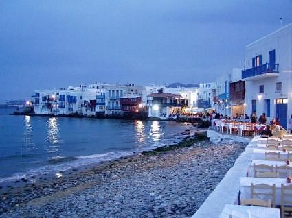 I ate at one of those tables on the water!  Mykanos