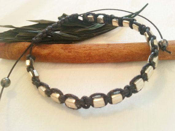 Macrame bracelet, silver color, Miyuki seed beads
