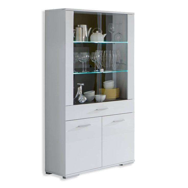vitrine icy wei hochglanz 85 cm - Wohnzimmer Vitrine Weis Hochglanz