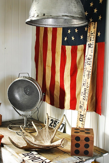 """Old Glory"" #flag in a beautiful interiors #vignette"