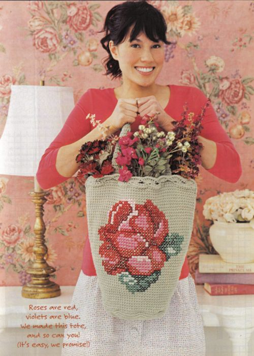 """Rosebud Tote, This pattern was published in Crochet Today Magazine's Apr / May 2007 issue.    From Crochet Today: """"Everything's coming up roses with this beauty of a bag. Easy Tunisian crochet gets gorgeous with quick and easy cross-stich, for a result that's blooming with style."""""""