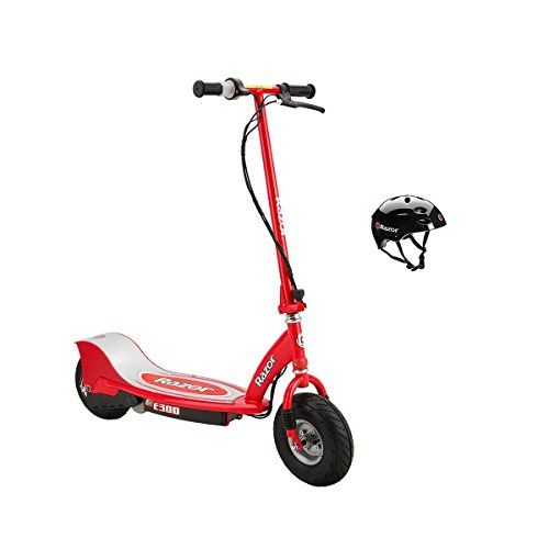 Scoot around town on this cool and powerful, red hot Razor Razor E300 Electric Motorized Scooter and stay safe with the Razor V17 Youth Helmet. Razor E300 Electric Scooter Life is a journey, so you might as well enjoy the ride on an electric scooter. It has a larger deck, frame, and tires for...