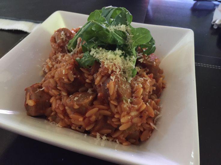 Beef Chipolata Risoni w Rocket & Parmesan Salad