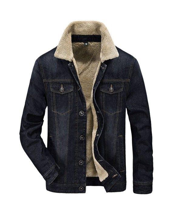 Men S Denim Jean Jacket Button Front Slim Fit Sherpa Lined Trucker Jacket Black Co12ntkpxks Denim Jacket Men Lined Denim Jacket Fleece Denim Jacket