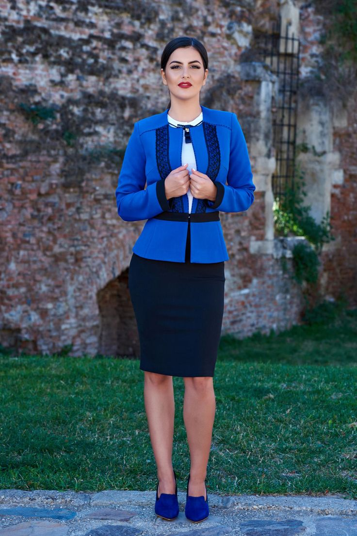 Set LaDonna Superior Position Blue. Set LaDonna format din sacou si fusta, cu un…