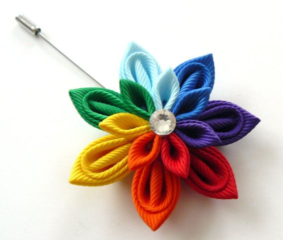 Kanzashi fabric flower brooch . Rainbow kanzashi flower by JuLVa