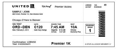 TSA PreCheck Speeds Travelers through Airport Security: A United Airlines boarding pass
