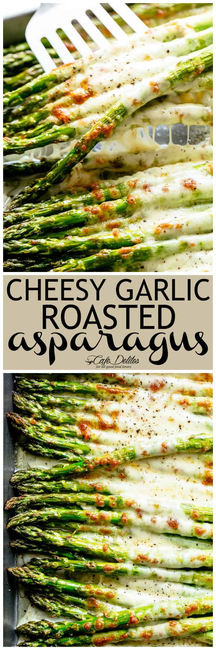 Cheesy Garlic Roasted Asparagus - Cafe Delites