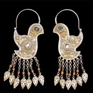 Uzbekistan | Earrings from Bukhara. Gilded silver, turquoise, coral
