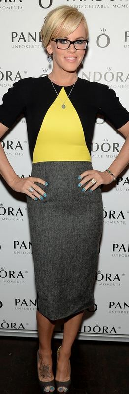 Who made  Jenny McCarthy's yellow, black and gray dress that she wore in New York on April 30, 2014?