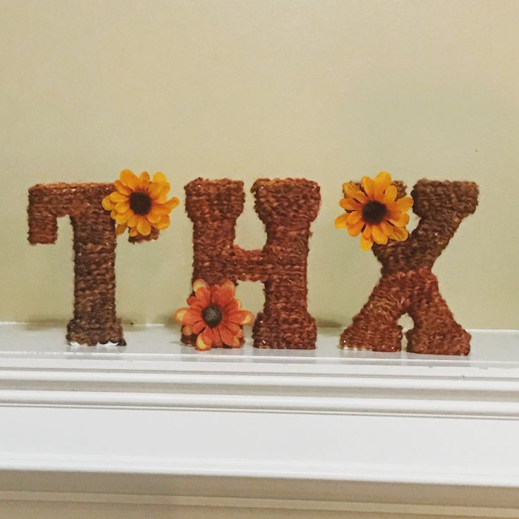 "Yarn wrapped letters for ""THX""giving"