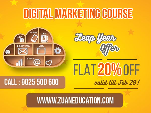 Leap Year Offer: Get job ready in just 30 days with Zuan Education's Advanced Digital Marketing Course!! Now, get Flat 20% Leap Year OFF! Right chance to leap your career this leap year!! :)  Call +919025500600 to enroll now.  #digitalmarketing #marketing #zuaneducation