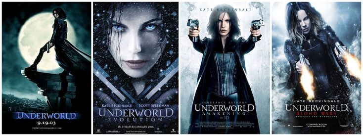 Underworld film series: Underworld (2003) Evolution (2006) Awakening (2012) Blood Wars (2016)  tells the story of Selene (Kate Beckinsale), a vampire who works as a Death Dealer, killing the lycans (Werewolves) who allegedly slaughtered her family