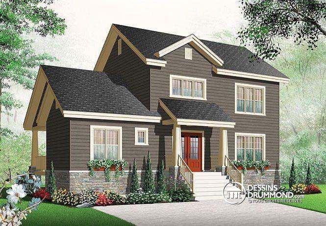 Maison de style Craftsman, 3 chambres, îlot à la cuisine, grande terrasse, bureau à domicile # 2779-V3  http://www.dessinsdrummond.com/detail-plan-de-maison/info/reverse/norway-4-artisanal-craftsman-northwest-1003055.html
