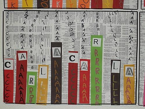 autour du prénom, sur un fond de vieil annuaire (ou journal ?) : collage de bandes de couleur, des lettres du prénoms et écriture de la lettre sur la bande en couleur contrastée / en Noir sur le fond (tampons ?)