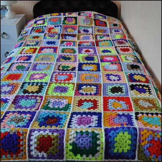 Traditional Granny Square Throw Ready To Ship Handmade #style  #GrannySquareBlanket #CrochetBlanket