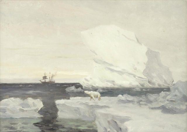 Eduardo De Martino (Italian, 1838-1912) The Stella Polare - Duke of the Abruzzi's expedition to the North Pole