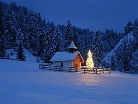 chapel & Christmas tree, Elmau, Bavaria, Germany by Fridmar Damm