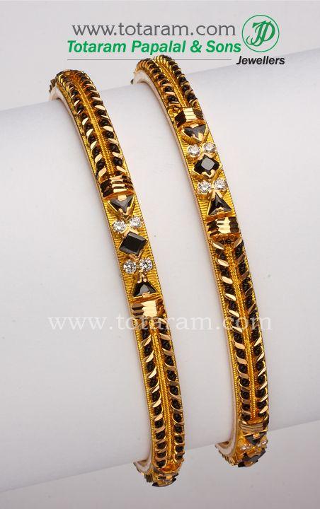 Totaram Jewelers: Buy 22 karat Gold jewelry & Diamond jewellery from India: 22K Gold Black beads Bangles - 1 pair
