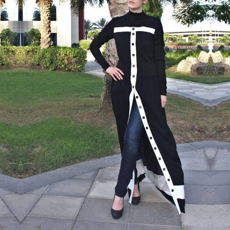READY TO SHIP / Placket Abaya Dress - Black/White / Fits S/M / Maxi Dress / Jersey Abaya / Dubai Abaya / Plus Maxi Dress / Plus Size Abaya by LanaLik on Etsy https://www.etsy.com/listing/525726738/ready-to-ship-placket-abaya-dress