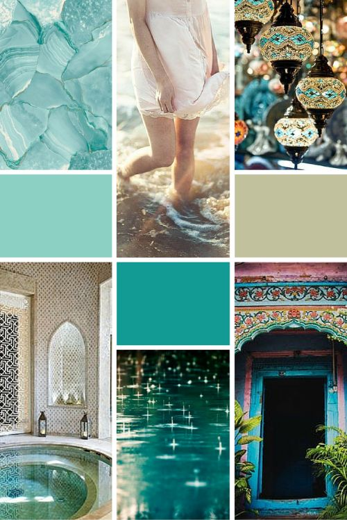 Midweek Moodboard: Turquoise Sunlight (turquoise and aqua tones with golden touches - the perfect colour palette for a beach themed design)