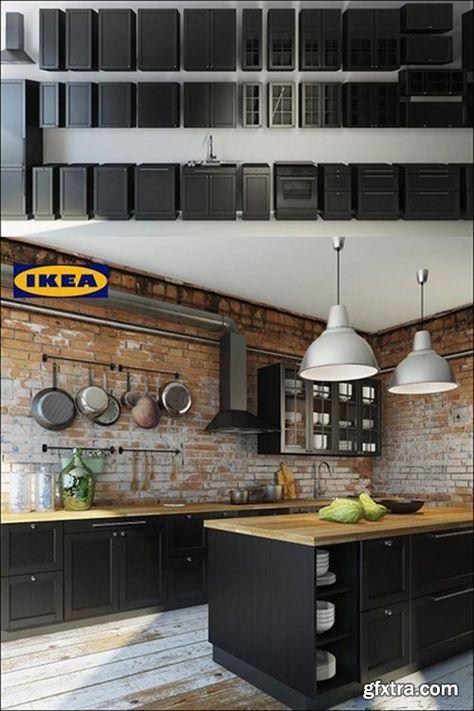 cuisine noire et briquette rouge on kiff home decor pinterest briquette rouge briquettes. Black Bedroom Furniture Sets. Home Design Ideas