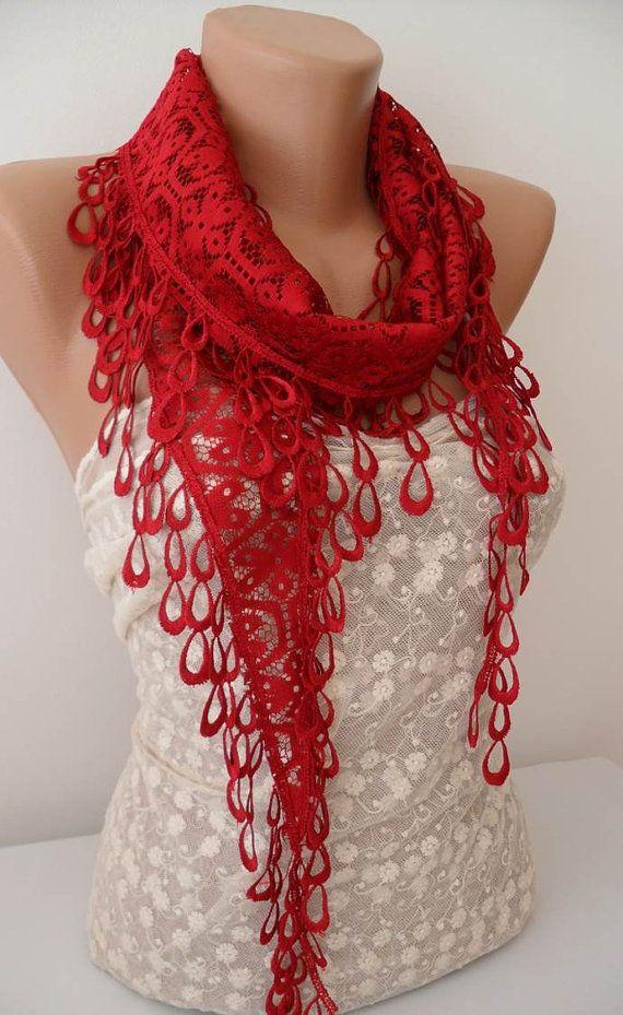 ON SALE Dark Red Scarf Cowl Scarf Womens by JasmineAccessory, $9.90