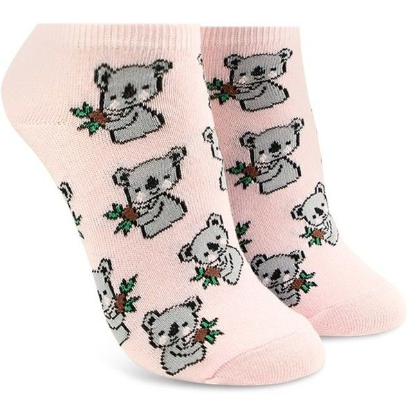 Forever21 Koala Print Ankle Socks (2.54 CAD) ❤ liked on Polyvore featuring intimates, hosiery, socks, print socks, forever 21 socks, forever 21, patterned hosiery and patterned ankle socks