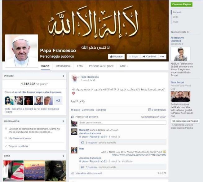 Hacker islamici occupano la pagina Facebook dedicata a Papa Francesco