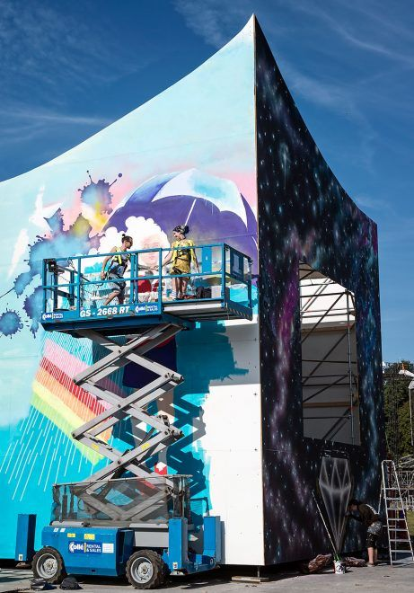 URBAN NATION @ LOLLAPALOOZA 2016  Lora Zombie working on her mural on the exterior of the Dreamscape pavilon  #dreamscape #urbannationberlin #DEIH #LoraZombie #LUDO #SHOK1 #DOME #MarinaZumi #TristanEaton #curiot #moneyless #Urbannation #urbanart #streetart #art #berlin #museumberlin #streetartberlin #urbanartberlin #lollapalooza #lolla #lollaberlin #festival #music #summer #lollapalooza2016