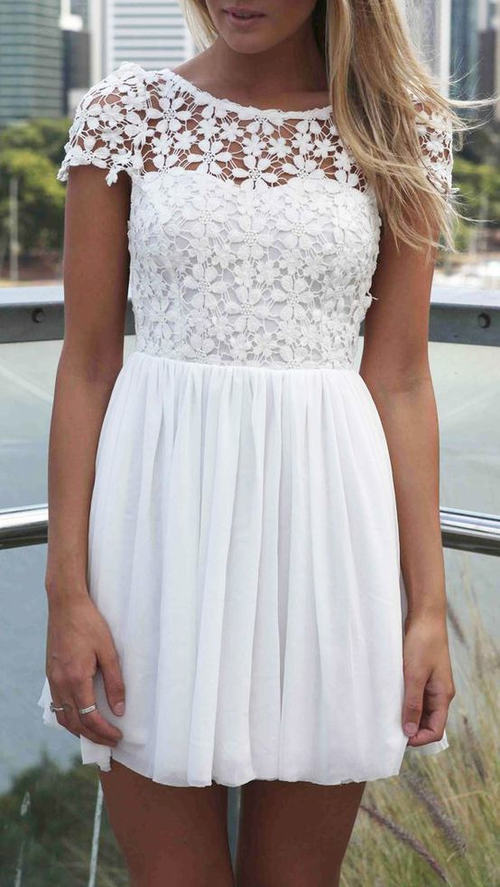 White Short Sleeve Hollow Floral Crochet Pleated Dress. Perfect for Reception dress