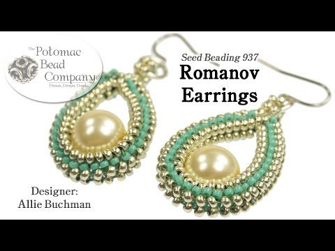 Allie Buchman's Romanov Earrings design - YouTube Tutorial. Supplies from www.PotomacBeads.com