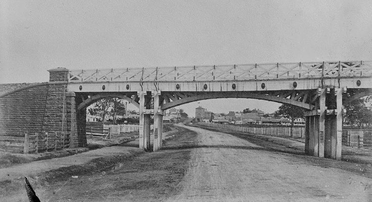 Rail bridge over St Kilda road, Melbourne, circa 1890, connecting St Kilda station to Chapel St (Windsor) station (some time after the rail line closed).