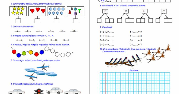 Materiale didactice de 10(zece): Fișă de evaluare inițială M.E.M. - clasa I