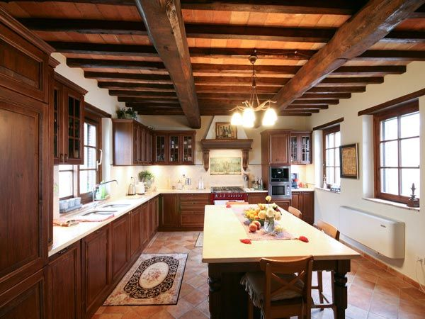 #kitchen with wooden beamed ceiling in a #farmhouse in the very heart of #Italy, #Umbria