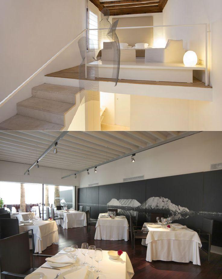 Convent de la Missió | Boutique Hotel | Palma de Mallorca | Spain | http://lifestylehotels.net/en/convent-de-la-missio | bedroom, double bed, white, minimalistic, luxury, relax, natural light, wooden floors, restaurant, wall art, mountain, black and white, dining area