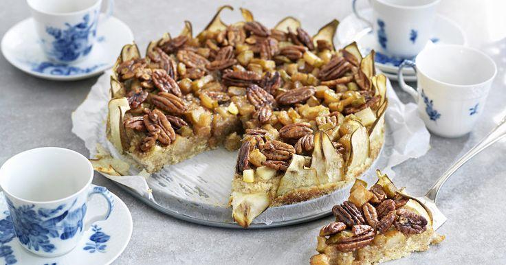 Päronpaj med pekannötter