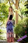 "PLUS SIZE FOLD OVER CORAL PURPLE "" CORAL REEF "" BOHO LONG MAXI SKIRT 1X 2X 3X"