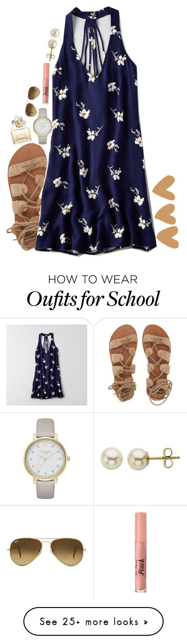 """i can not wait until spring break! so done with school already."" by alexislynea-804 on Polyvore featuring Billabong, Too Faced Cosmetics, Kate Spade, American Eagle Outfitters, Ray-Ban, Marc Jacobs and Lord & Taylor"