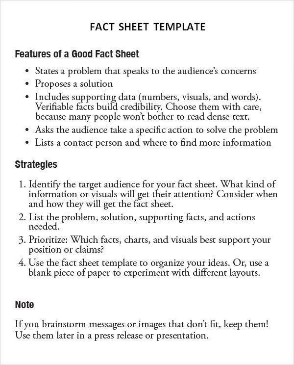 Fact Sheet Templates Word Excel Pdf Formats Fact Sheet Templates