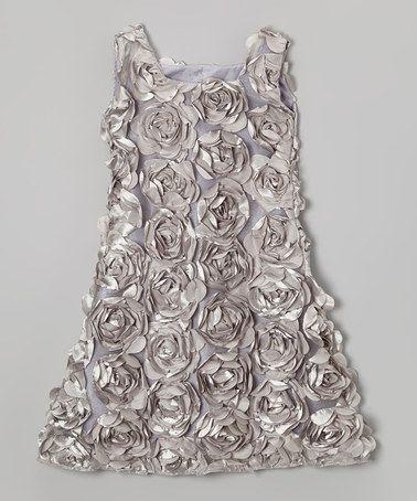 Silver Rosette Petal Dress - Infant, Toddler & Girls #zulily #zulilyfinds