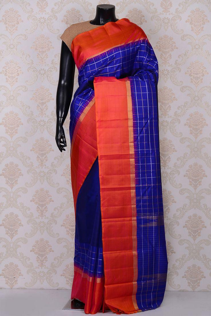 #Blue elegant #kanchipuram silk #saree with orange border-SR18620 --#PURE KANCHIPURAM SILK SAREE #Sarees