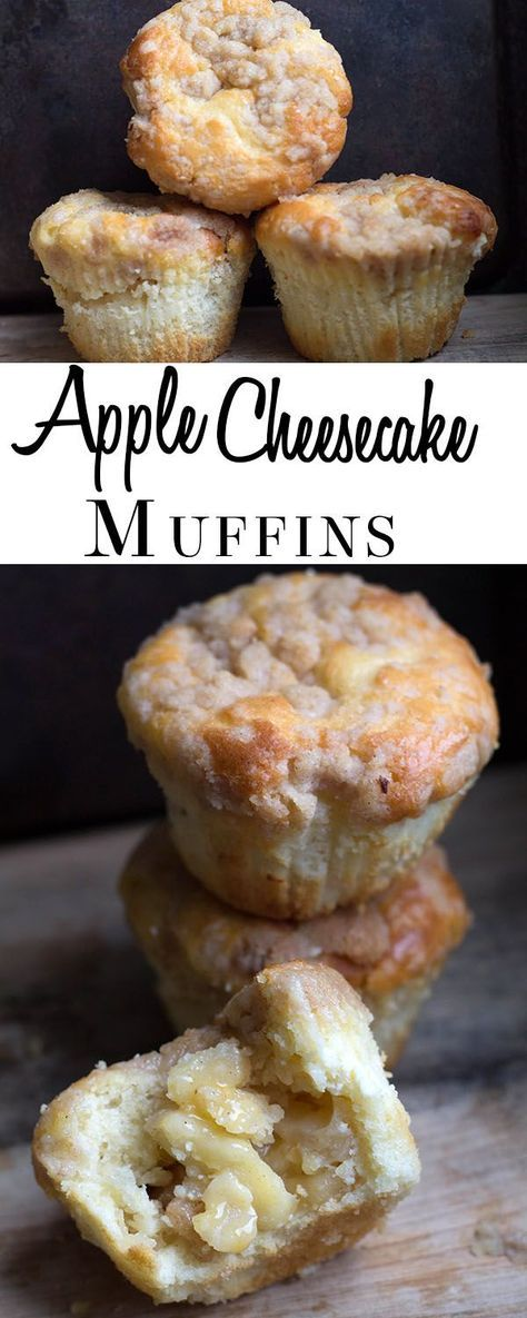 Apple Cheesecake Muffins - Erren's Kitchen - This recipe is a cross between a crumb cake, cheesecake and an apple pie! They are truly divine!