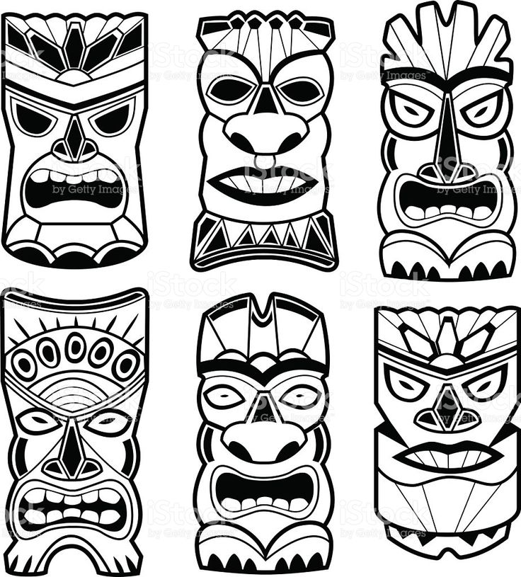 statue de tiki hawaïen masques en noir et blanc stock vecteur libres de droits libre de droits