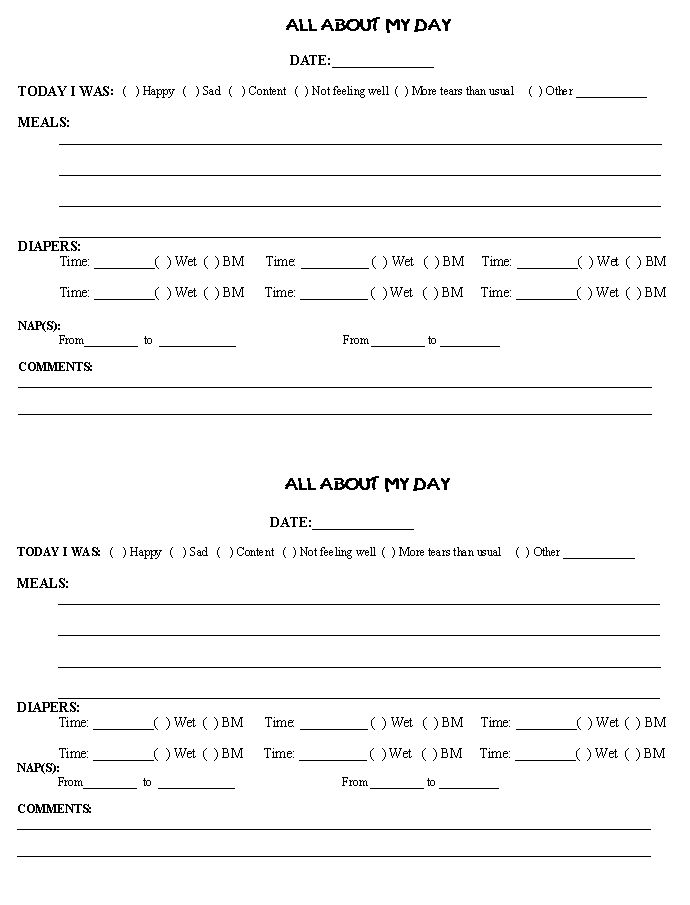 15 best in-home day care forms images on Pinterest Daycare forms - daily progress report format