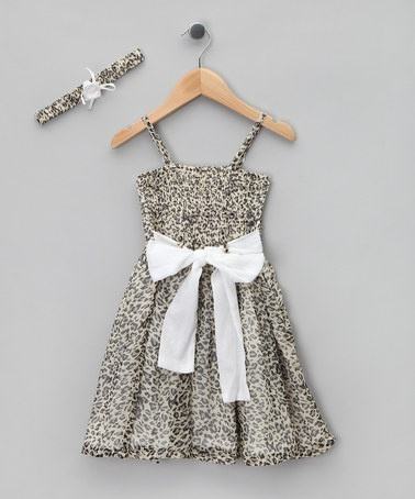 Take a look at this Gray Panther Shirred Dress & Headband - Girls by LoFff on #zulily today!
